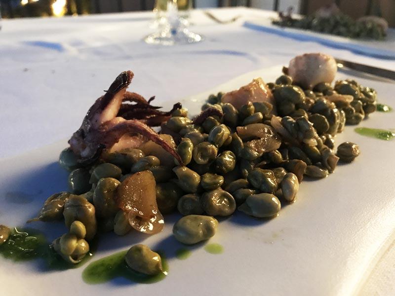 calamares con habitas restaurante el xalet de montjuic