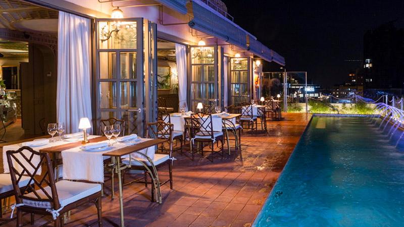 winter garden terraza de hotel en barcelona