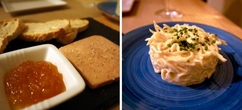 foie y ensalada de celeri restaurante clarius barcelona